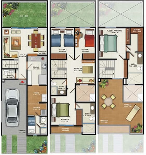 Planos de casa 3 pisos 160m2 pinteres for Plano habitacion online