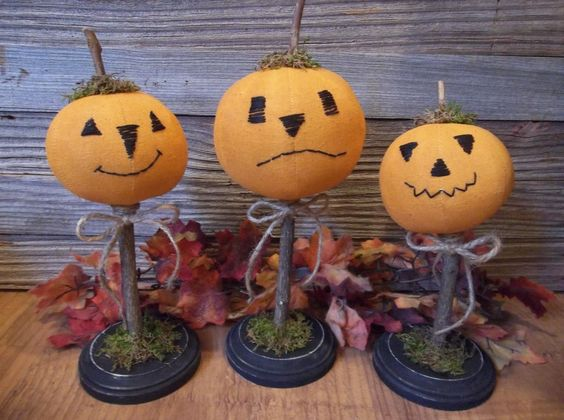 Trio of Primitive Handmade Jack O Lanterns on Wood Bases Fall Halloween Decor…