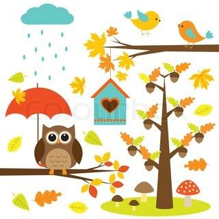 Birds,trees and owl