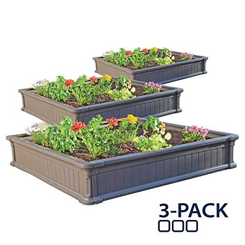 Lifetime 60069 Raised Garden Bed Kit 4 By 4 Feet Pack Of 3 With