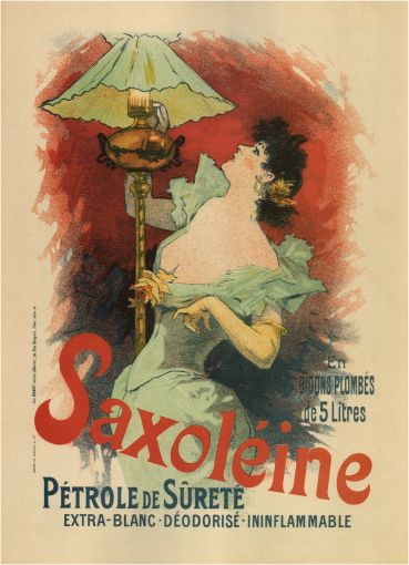SAXOLÉINE SAFETY KEROSENE, EXTRA-WHITE, ODORLESS, NONINFLAMMABLE, IN 5-LITER LEADED CANS Authorship: Jules Chéret; Country: France; Date: 1892