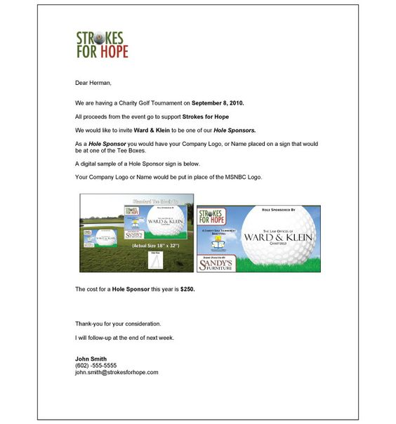 Hole Sponsor Letter golf Pinterest - company sponsorship letter