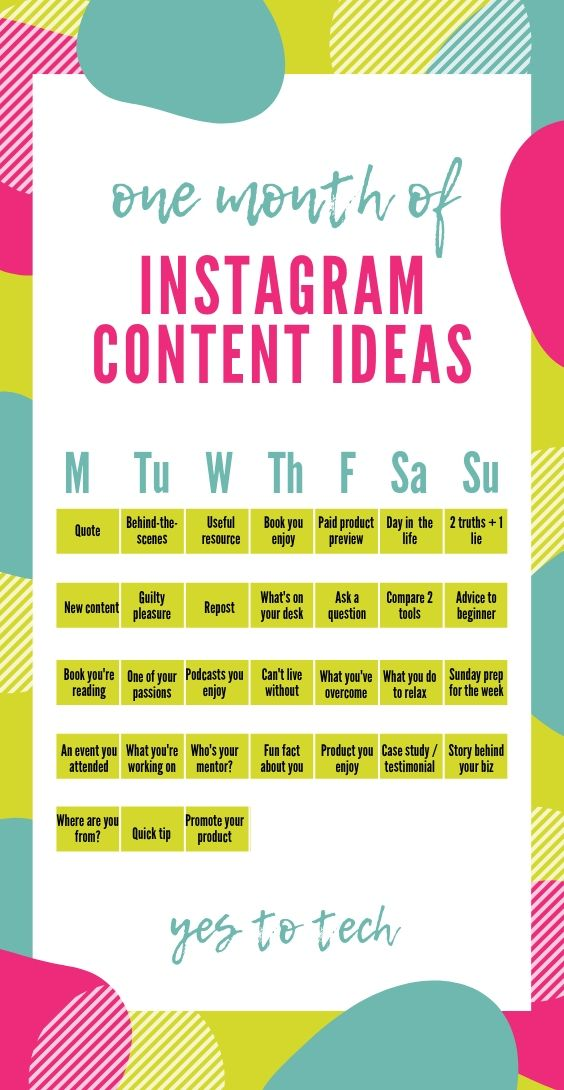 Want One Month Of Instagram Content Ideas Download This Free Instagram Content C Instagram Content Calendar Social Media Content Calendar Social Media Planner
