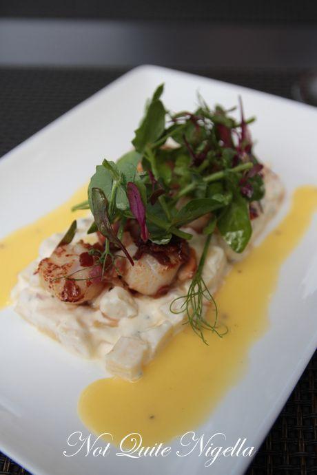 Seared Coromandel scallops, potato salad, pancetta, pineapple beurre blanc