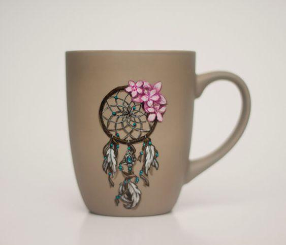 Taza de porcelana pintada a mano con un por MalerinaPaints en Etsy, zł150.00