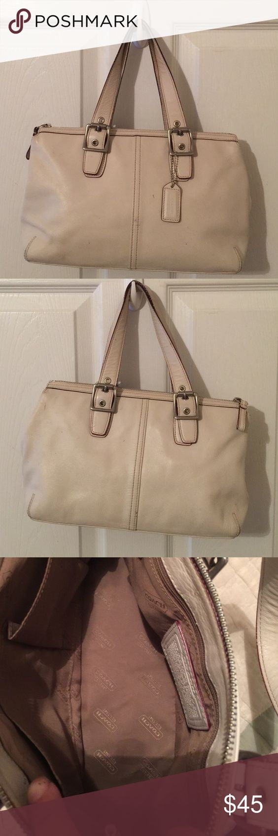 Coach Legacy Cream White Leather Handbag Very good preowned condition. Comes with dust 💼 bag Coach Bags Satchels
