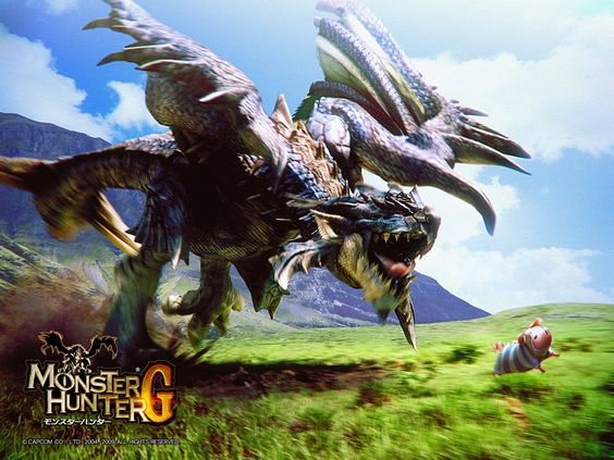 Azure rathalos chasing a poogie, from Monster Hunter.