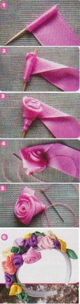 how to make ribbon flowers for headbands step by step