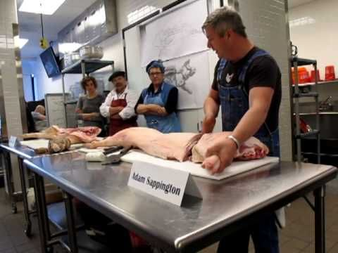 Part 1 of 4.  Adam Sappington of The Country Cat in Portland, Oregon, shows how he butchers a pig at a class with Michael Ruhlman and Camas Davis at IACP. Unfortunately, I...