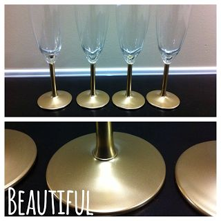 painted champagne flutes gold spray and metallic gold on pinterest. Black Bedroom Furniture Sets. Home Design Ideas