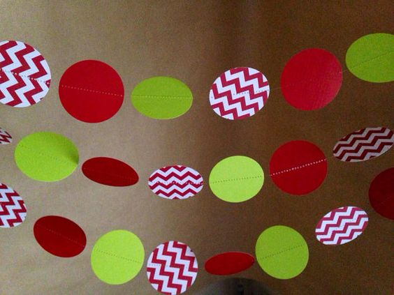 White Christmas Classroom Decorations : Red white and chevron lime green paper garland party