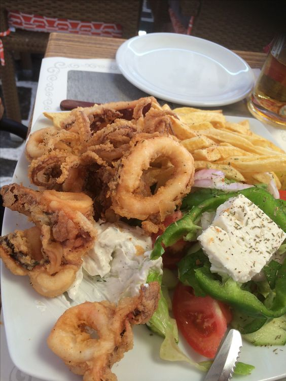 My lovely dinner, squid, chips, greek salad and tzatiki