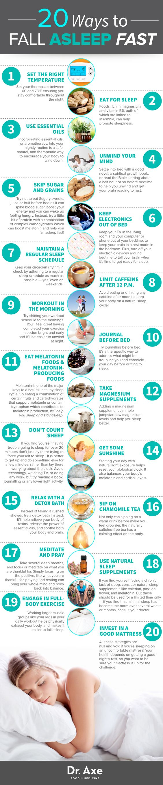 20 ways to fall asleep fast http://www.draxe.com #health #holistic #natural