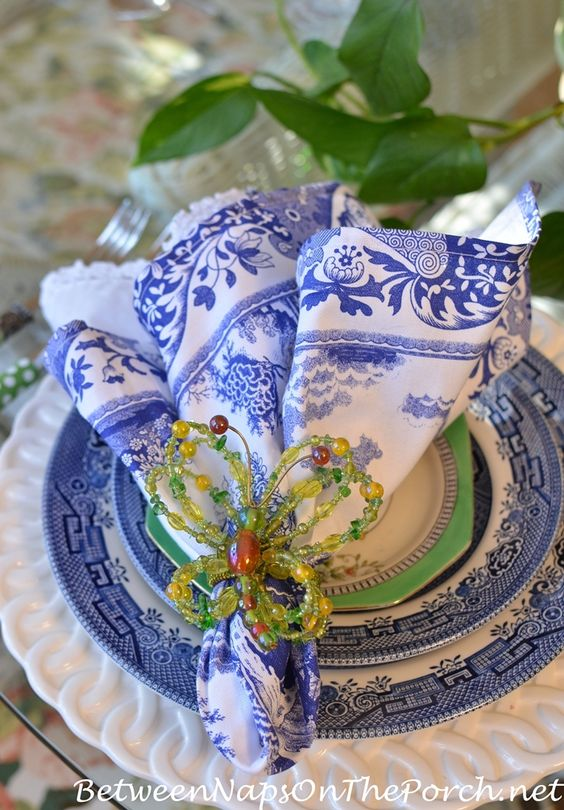 Blue and White Tablescape for Spring or Summer | Between Naps on the Porch