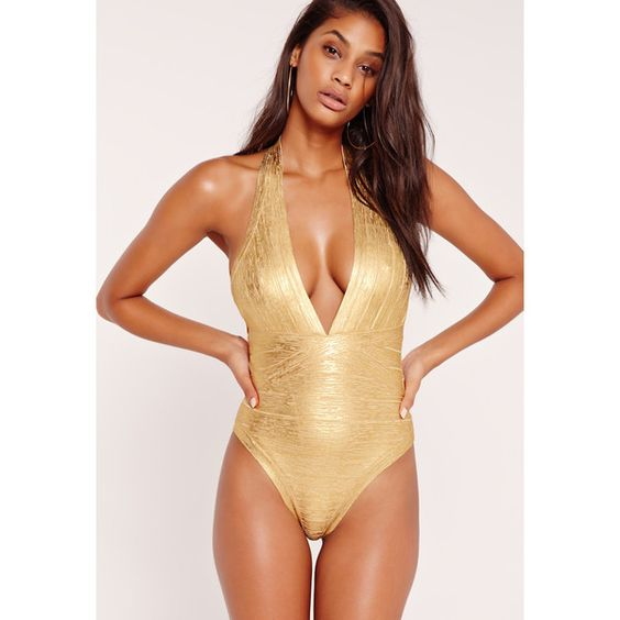 Missguided Premium Metallic Bandage Swimsuit ($51) ❤ liked on Polyvore featuring swimwear, one-piece swimsuits, gold, metallic swimsuit, bandage one piece swimsuit, shiny swimwear, swim costume and swim suits