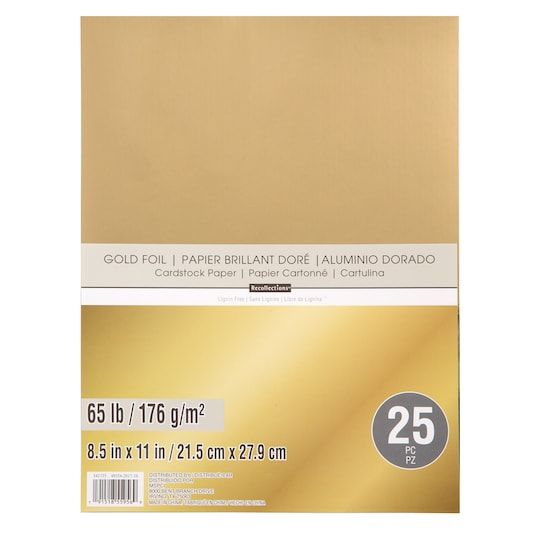 Gold Foil 8 5 X 11 Cardstock Paper By Recollections 25 Sheets Cardstock Paper Card Stock Gold Foil Paper