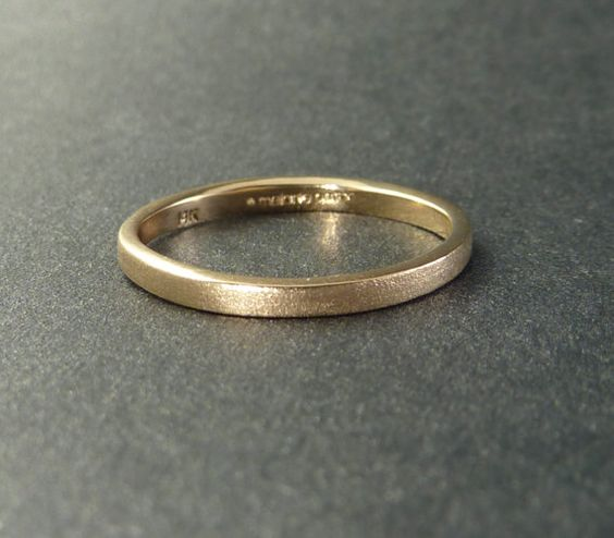 Thin Yellow Gold Wedding Band Ring Sand by someplaceelsewhere