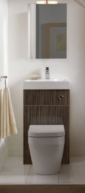 sink/toilet combo  For an absolutely tiny bathroom that is functional and luxurious, I would move the toilet/sink to the corner, along with the mirror, and add a rain shower on the right side, or as shown in the photo but with the rain shower in front.