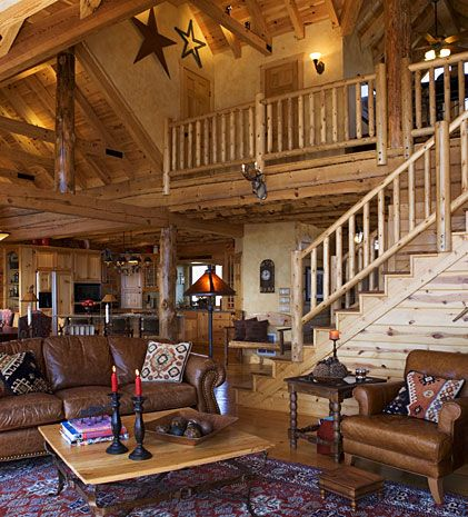 Log cabin great room with loft log cabin dreams for Log living room