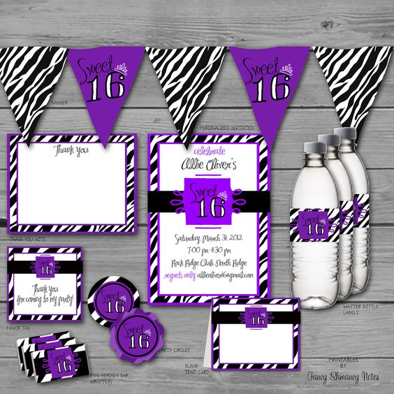 Sweet 16 Zebra Print / Instant Download / Party Set in Purple, Printable Files Item 11048. $15.00, via Etsy.