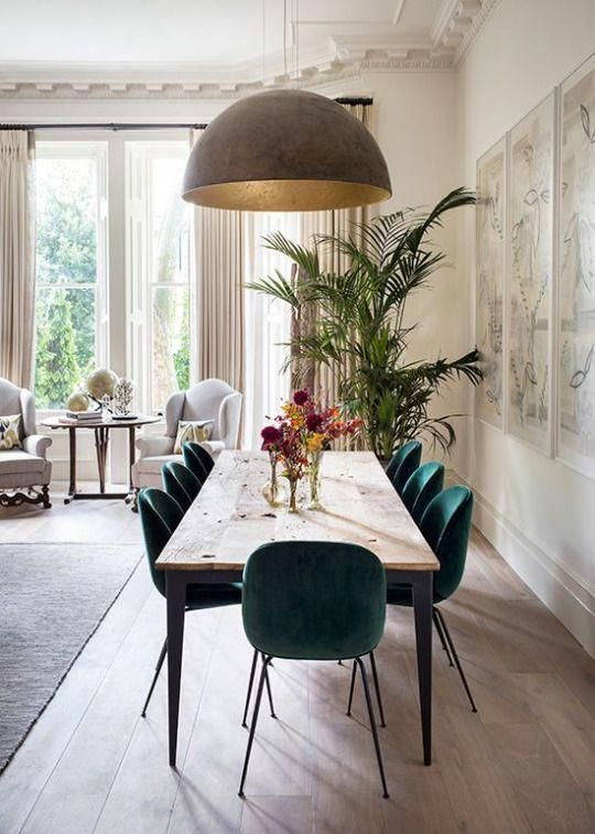 Rustic Minimal And Modern Dining Room With Unique Features Like The Lamp And Suede Scandinavian Dining Room Beautiful Dining Rooms Dining Room Inspiration