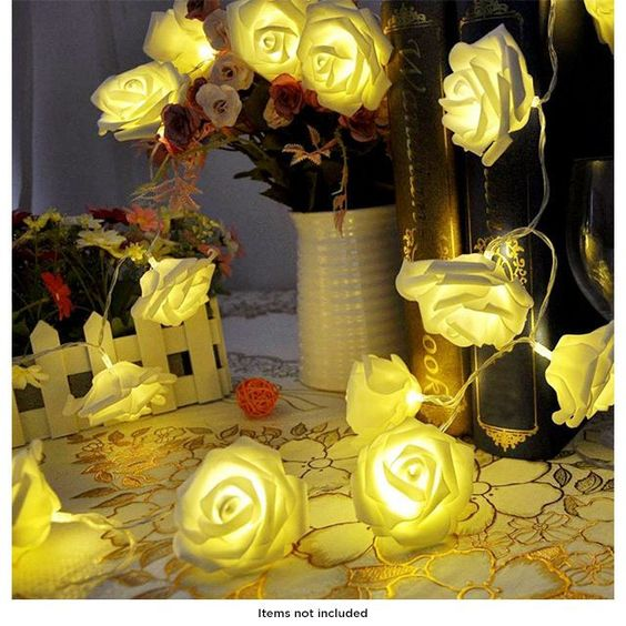 20 Warm White LED Battery Operated Rose Flower Fairy Lights | Choxi.com