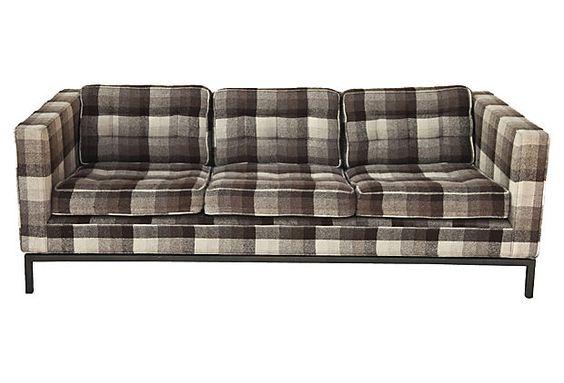 Mid Century Modern Plaid Wool Sofa Plaid Sofa Sofas And Plaid
