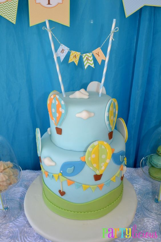 Hot Air Balloon-Themed Cake - Wow!: Hot Air Balloon, Babyshowerideas Baby, Baby Shower Cakes, Baby Shower Ideas, Air Balloons, Baby Boy Cakes, Birthday Cake, Birthday Ideas
