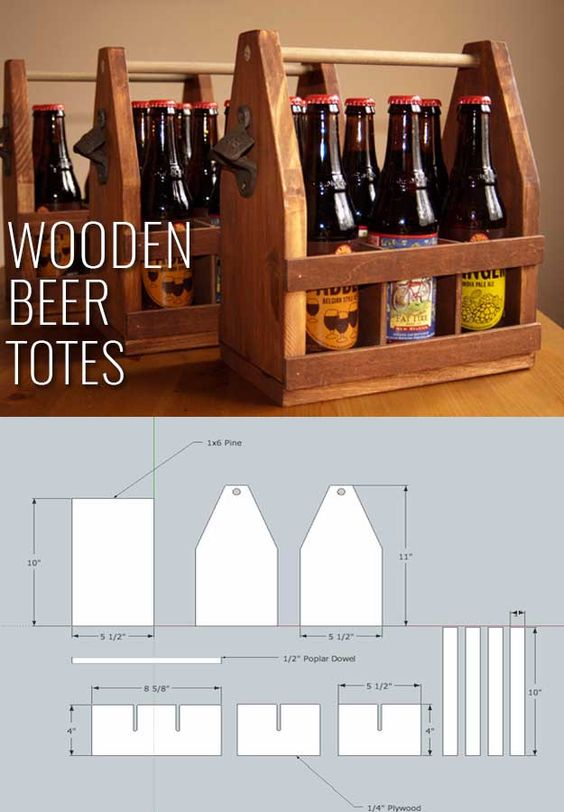 Awesome  Crafts for Men and Manly DIY Project Ideas Guys Love - Fun Gifts, Manly Decor, Games and Gear. Tutorials for Creative Projects to Make This Weekend   Wooden Beer Totes     http://diyjoy.com/diy-projects-for-men-crafts