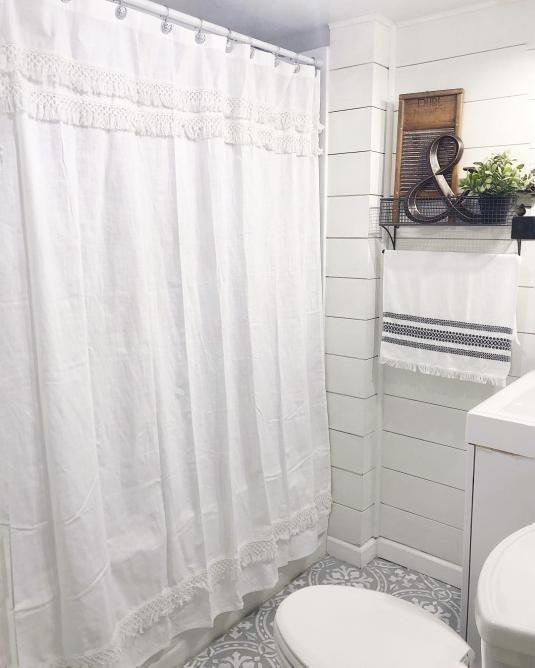 fringe shower curtain cream threshold