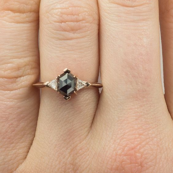 Black Hexagon Diamond Engagement Ring- Victoria Setting, 14K Rose Gold - Point No Point Studio - 6: