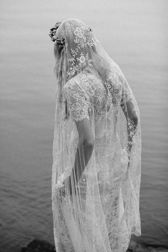 FOR THE ACCESSORIES || Embellished lace veil & flower crown || NOVELA BRIDE...where the modern romantics play & plan the most stylish weddings... www.novelabride.com (Instagram: @novelabride)