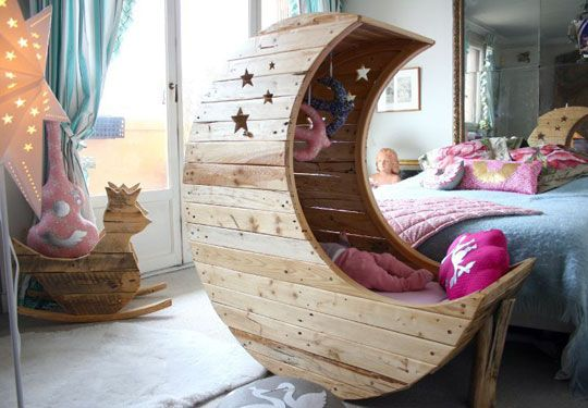 In the same style and vibe as their Royal Rocking Bird, French company Creme Anglaise has created this playful moon cradle which, as you can see, they use at home for their daughter.