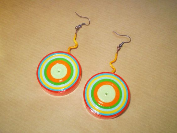 Colorful Target Parer Earrings /Πολύχρωμα by LeftysHandcrafts, €10.00