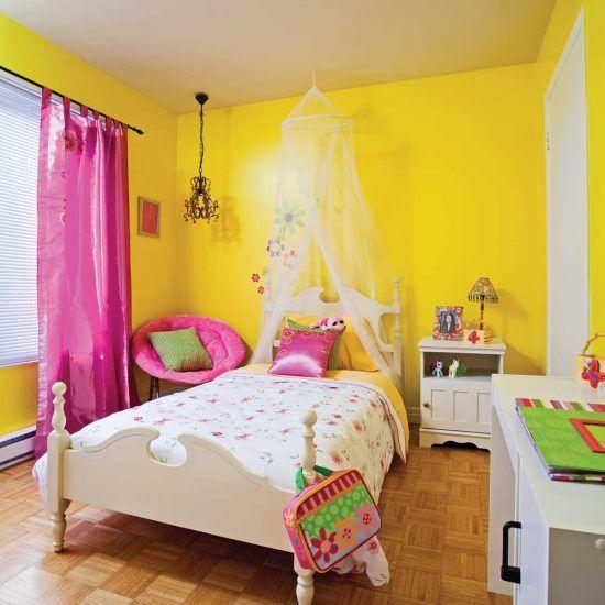 Une Chambre De Fillette Jaune Et Rose Chambre Fille