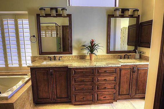 Masterbath Room Custom Vanity Cabinets In The Scottsdale Master Bathroom Renovation