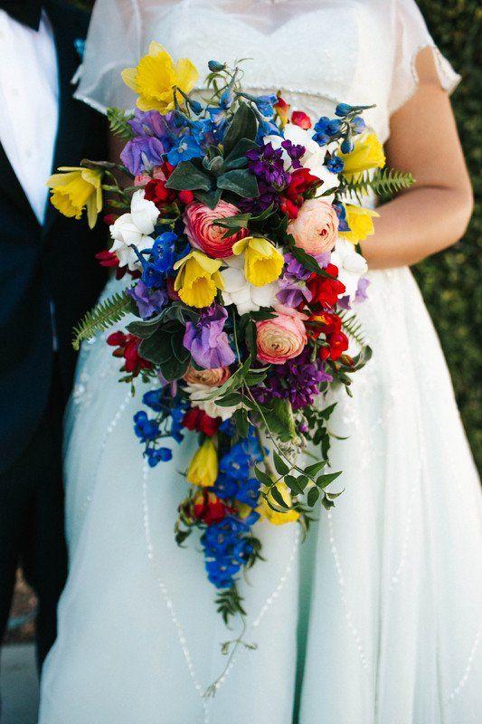 Bright Wedding Bouquet Idea Cascading