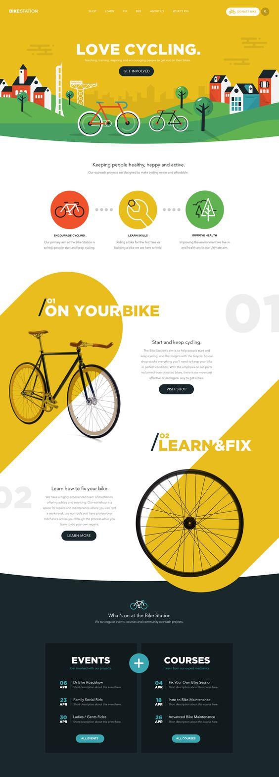 Landing Page eines Fahrradgeschäfts mit Auflistung der Leistungen