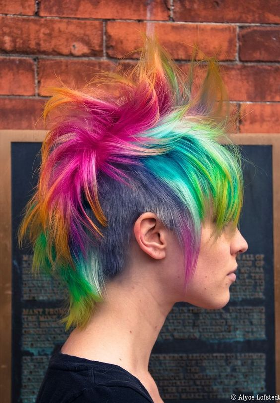 English Punk Multicoloured Messy Mohawk Damn Practical