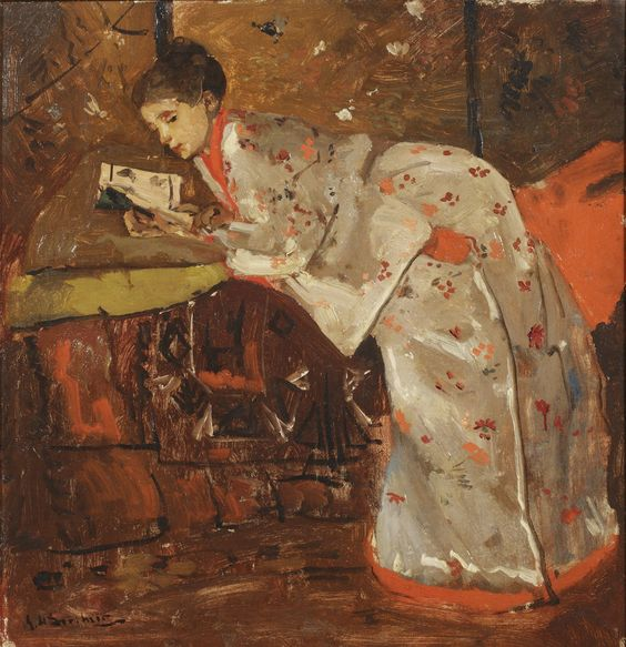 George Hendrik Breitner, Vrouw in Japanse kimono, 1895/1896 Olieverf op doek, 59 x 57 cm. Collectie G.J. Marsman, Meggen. Foto © Christie's Images Limited 2014