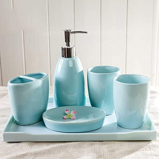 Tellgoy Multiple Piece Luxury Bathroom Accessories Set Creative Bath Ensemble Ceramics Mat Bathroom Accessories Luxury Bathroom Accessories Ceramic Materials