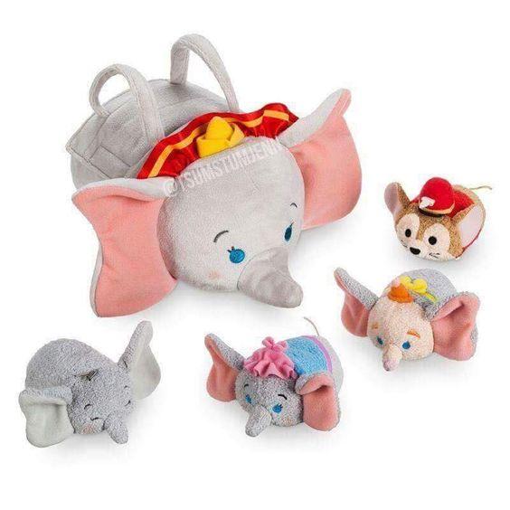 Dumbo Tsum Tsum Bag Set - Mrs. Jumbo (Dumbo's mom), Timothy Mouse, baby Dumbo, and Dumbo (clown)