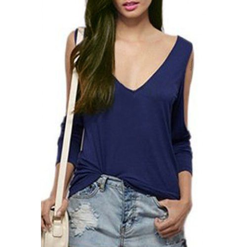 Sexy Backless Criss-Cross Cut Out Long Sleeve Solid Color T-Shirt For Women
