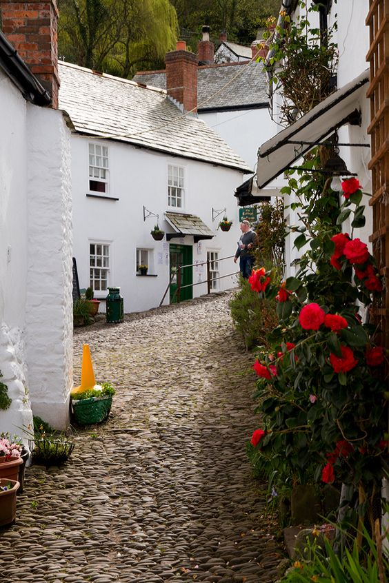 A beautiful cobbled street in Clovelly, Devon, England