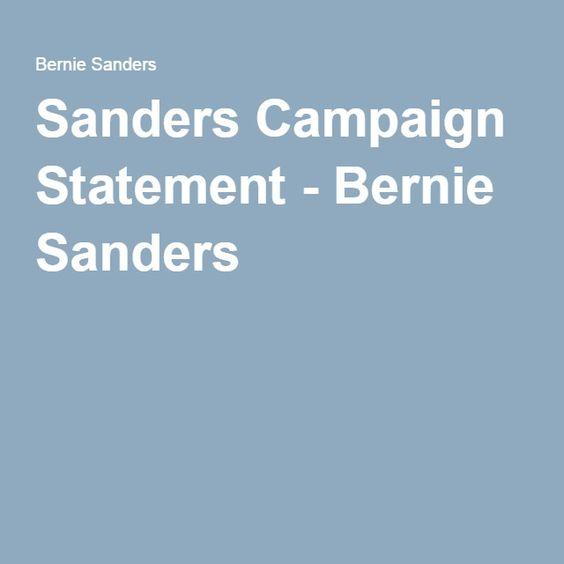 Sanders Campaign Statement - Bernie Sanders