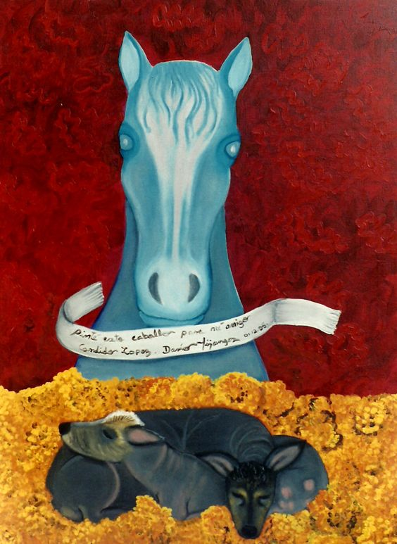 Libertad and Nahui with horse, 1995