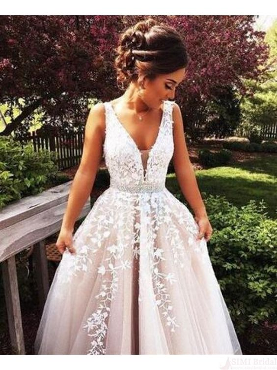 Gorgeous V-neck Applique White Long Prom Dresses Evening Dresses (ED1276)