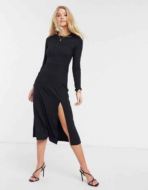River Island Robe Mi Longue En Jersey Cotele Avec Fente Sur Le Cote Noir Asos En 2020 Robe En Jersey Robe Mi Longue Robes Midi