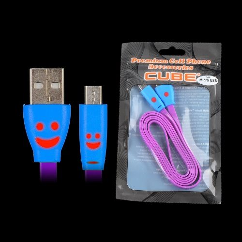 Micro V9 - 3.5ft Flat Wire Data Cable with Smiley Purple ... on