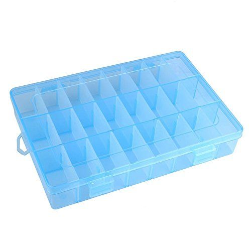 Yueton?? 24 Compartment Slot Adjustable Jewelry Bead Organizer Box Storage Container Case (Blue) *** Check this awesome image @ http://www.laminatepanel.com/store/yueton-24-compartment-slot-adjustable-jewelry-bead-organizer-box-storage-container-case-blue/?ij=250616191423